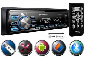Pioneer MVH-X378BT - Rádio Am/Fm com conexão Bluetooth, entrada USB e AUX